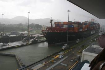 Ship approaching the lock
